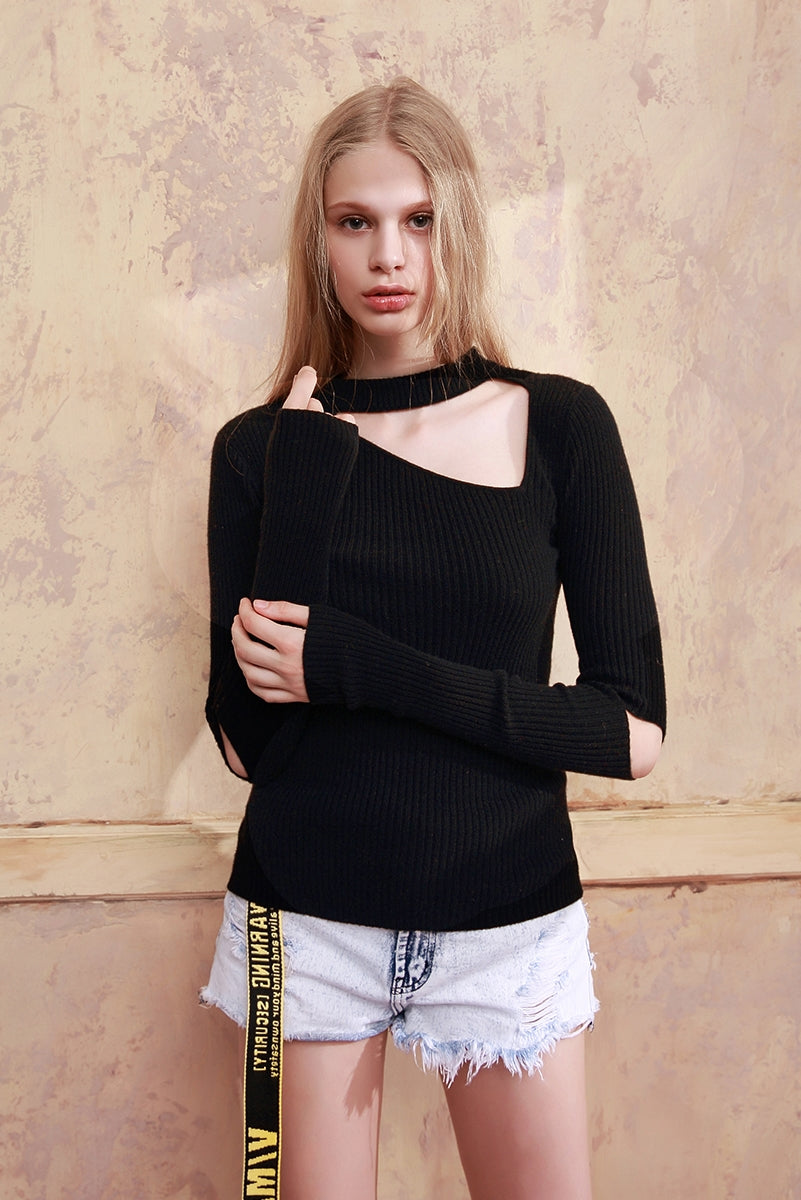 CHAU RISING hole cashmere sweater