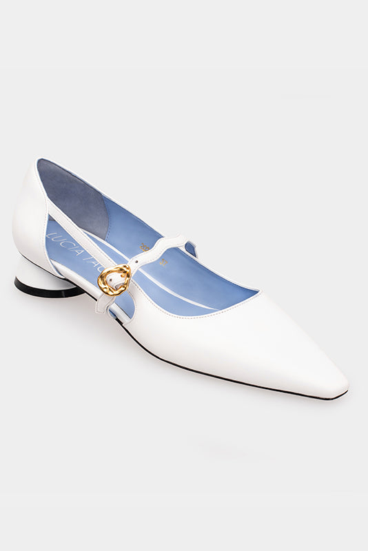 Cloris White Calf Leather Block Heels