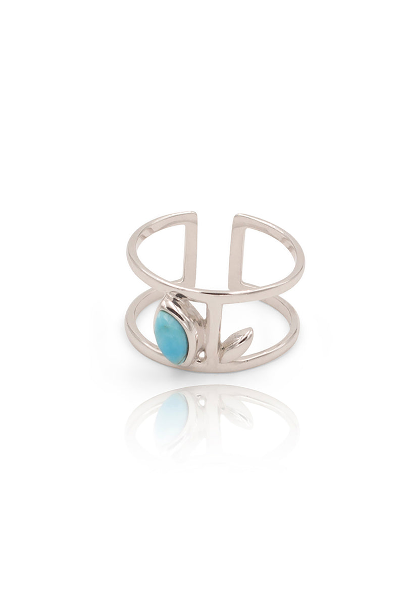 Floral Escape Blue Magnesite Midi Ring