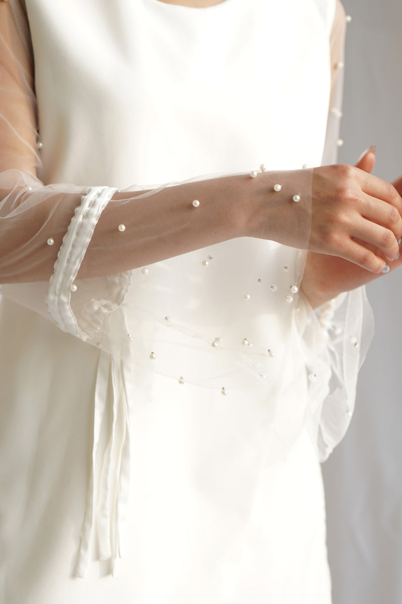 White Pearl-Voile Dress