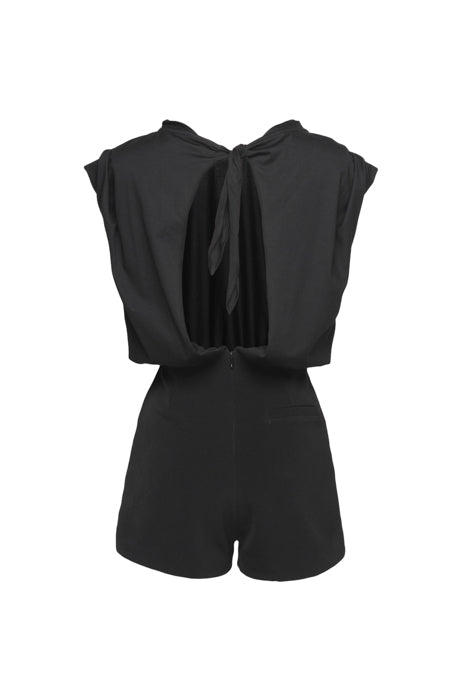 Tied Open-Back Short Jumpsuit