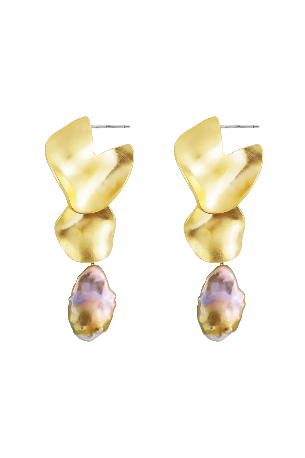 Pearl Drop Scallop Earrings