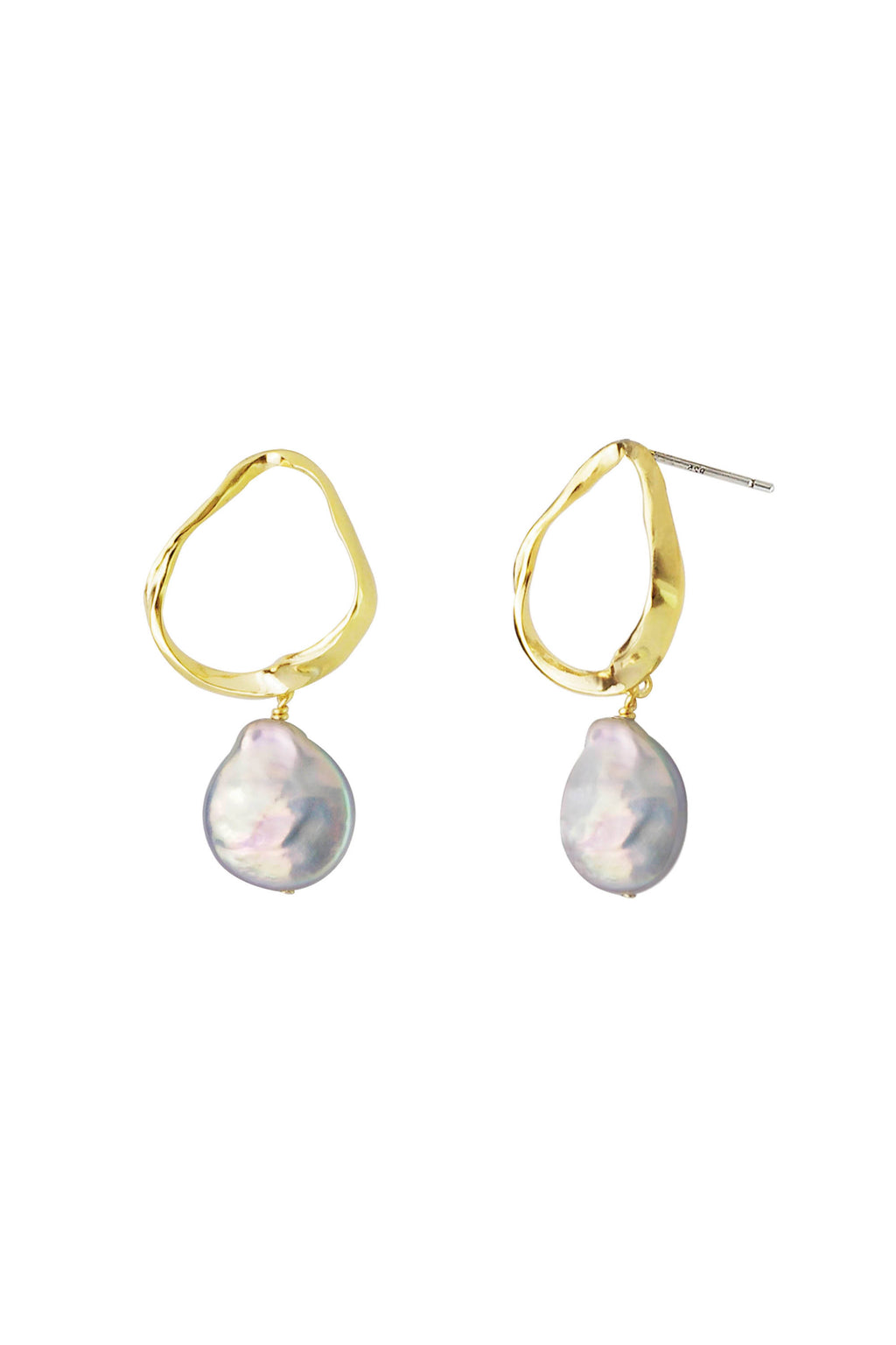 Flat Pearl Ripple Earrings