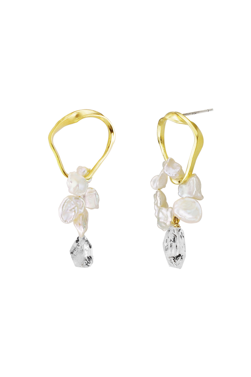 Crystal Drop Ripple Earrings