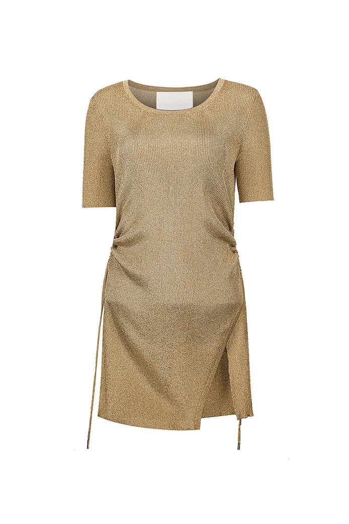 Golden One-Slit Drawstring Knit Dress