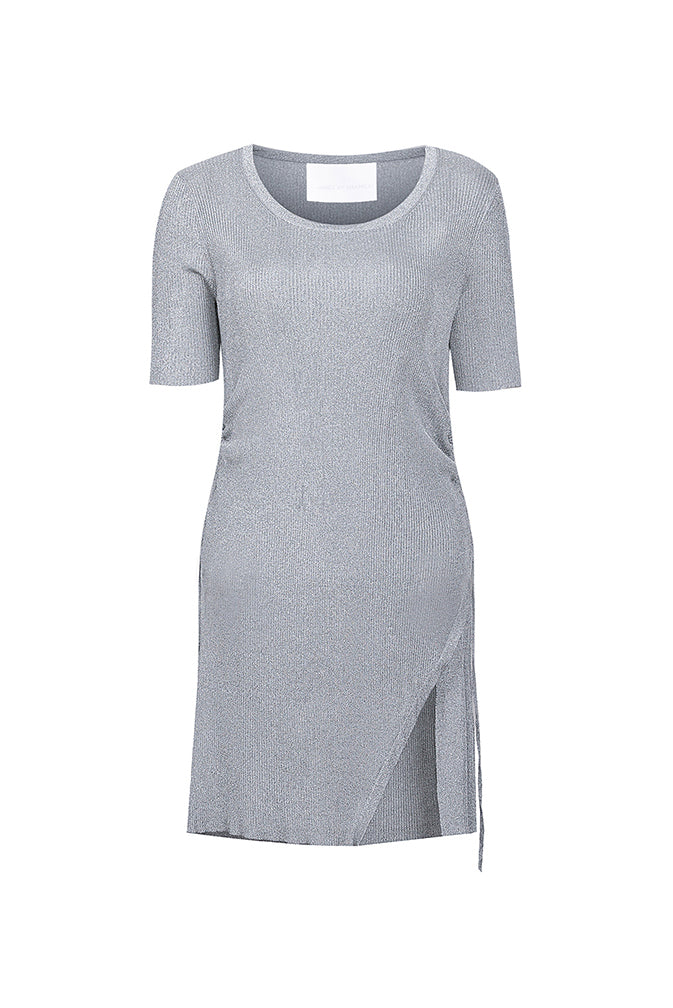 Silver One-Slit Drawstring Knit Dress