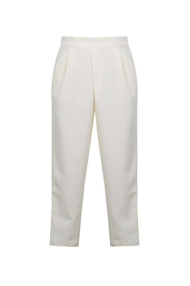White Stacked Pleated Cropped Pants