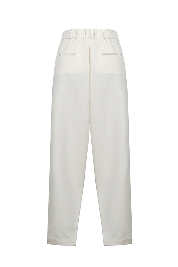 Stacked Pleated Cropped Pants - White