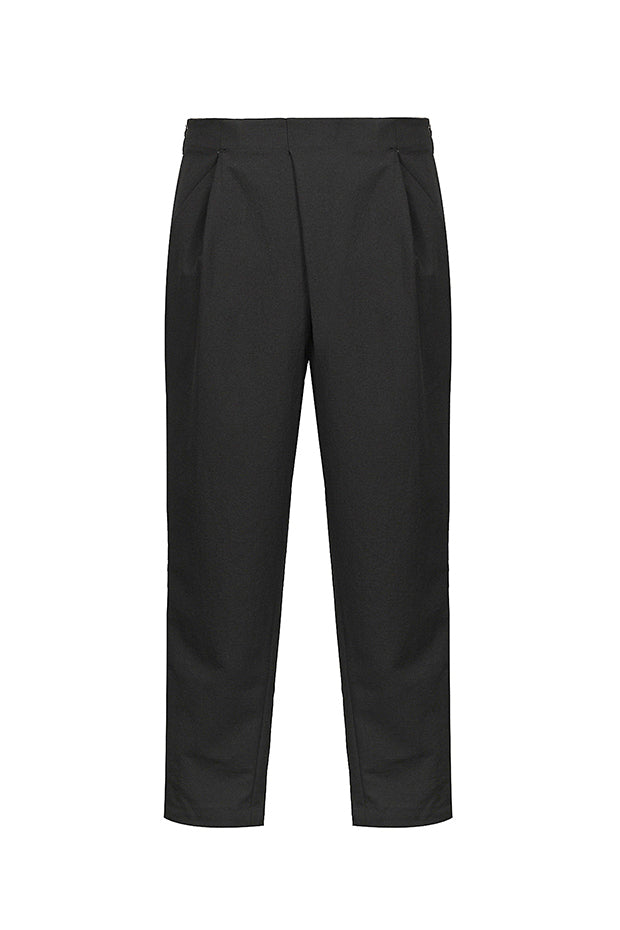 Stacked Pleated Cropped Pants - Black
