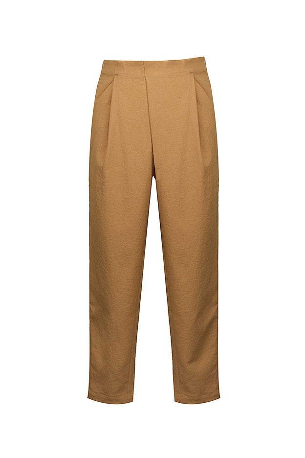 Stacked Pleated Cropped Pants - Yellow
