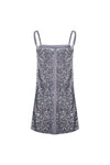 Sequin Bandeau Sling Dress - Grey