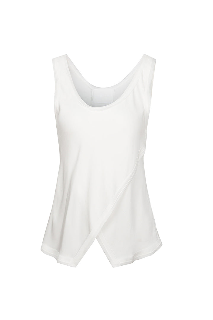 White Asymmetrical Hem Split Vest