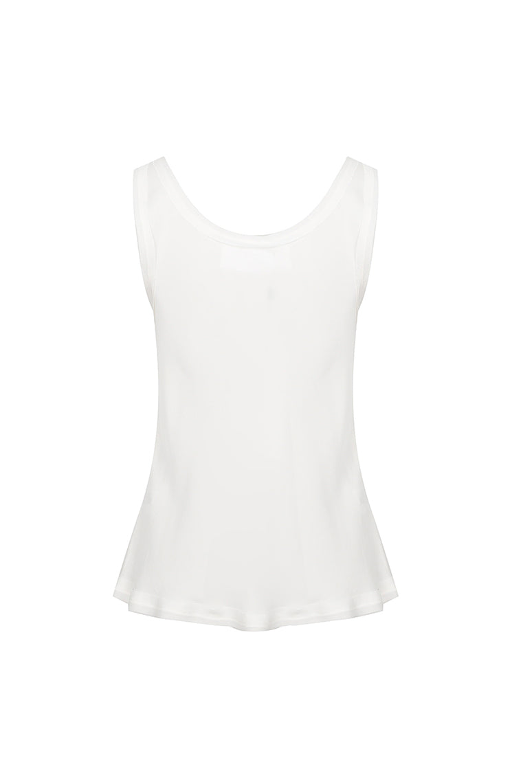 Asymmetrical Hem Split Vest - White