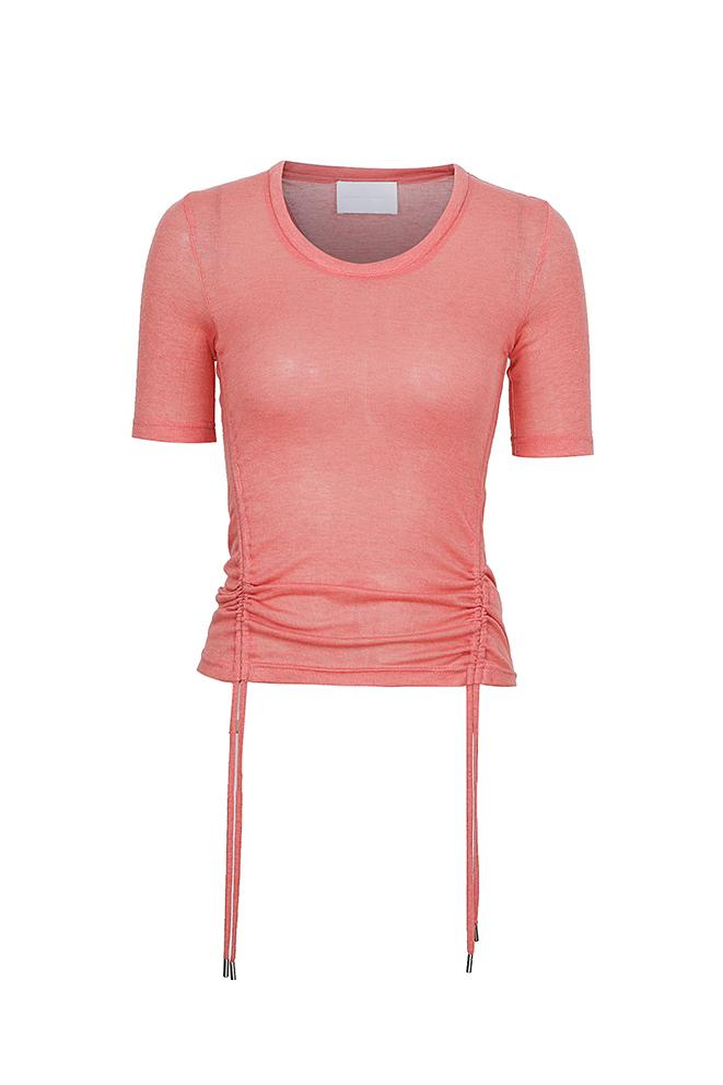 Drawstring Crew Neck T-Shirt - Pink