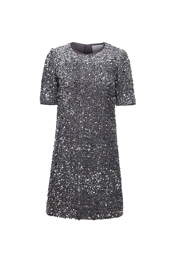 Grey Sequin Round Neck Dress