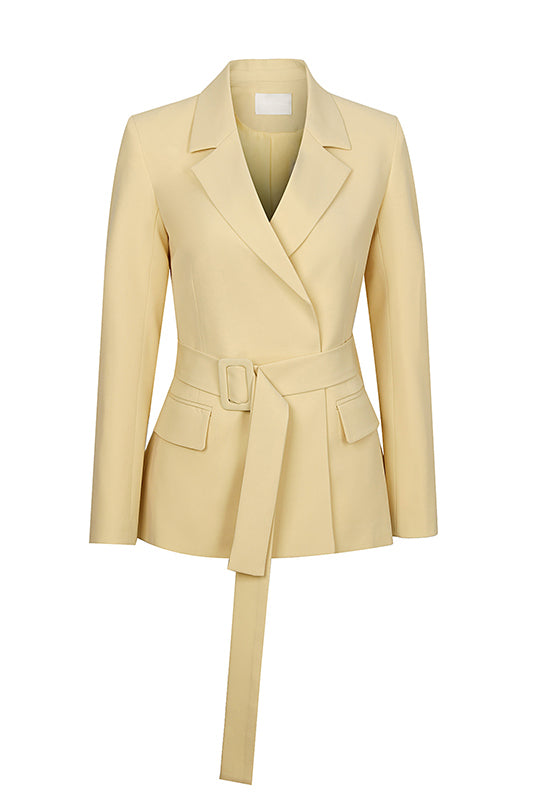 Pleated Back Hem Waist Blazer - Yellow