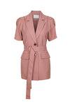 Ruffled Pleated Short Sleeve Blazer - Pink
