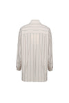 Loose Double Pocket Striped Shirt - Beige