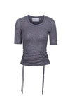 Drawstring Crew Neck T-Shirt - Grey