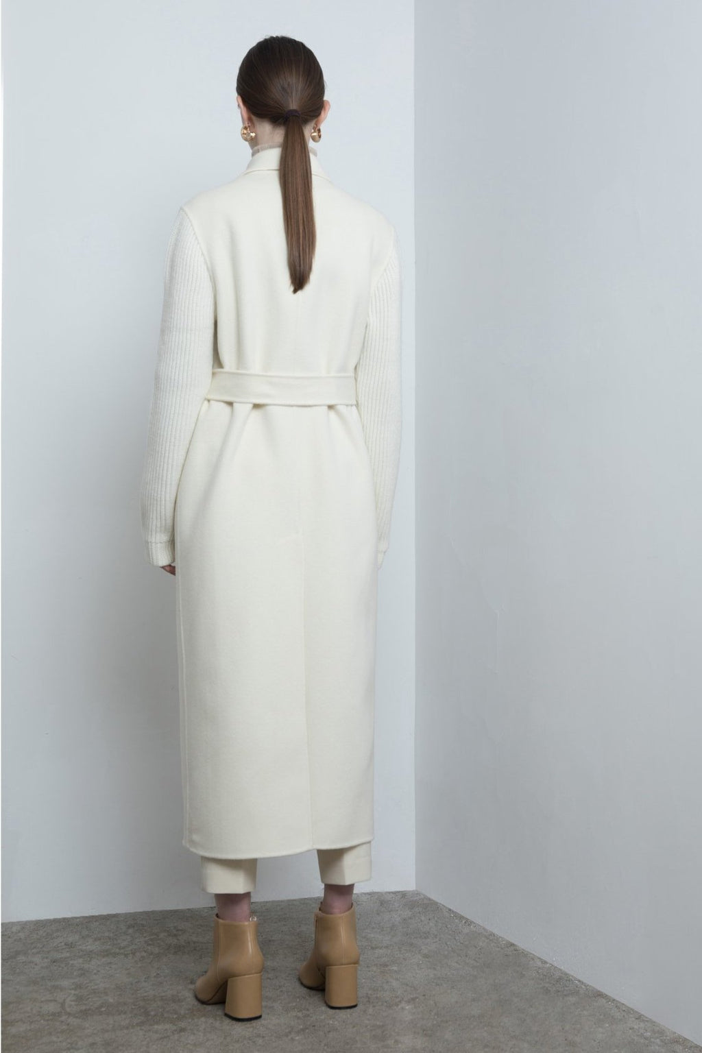 YUEL XIANG white wool wrap long coat