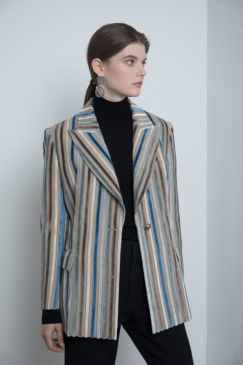 Velvet Stripes Suit Jacket