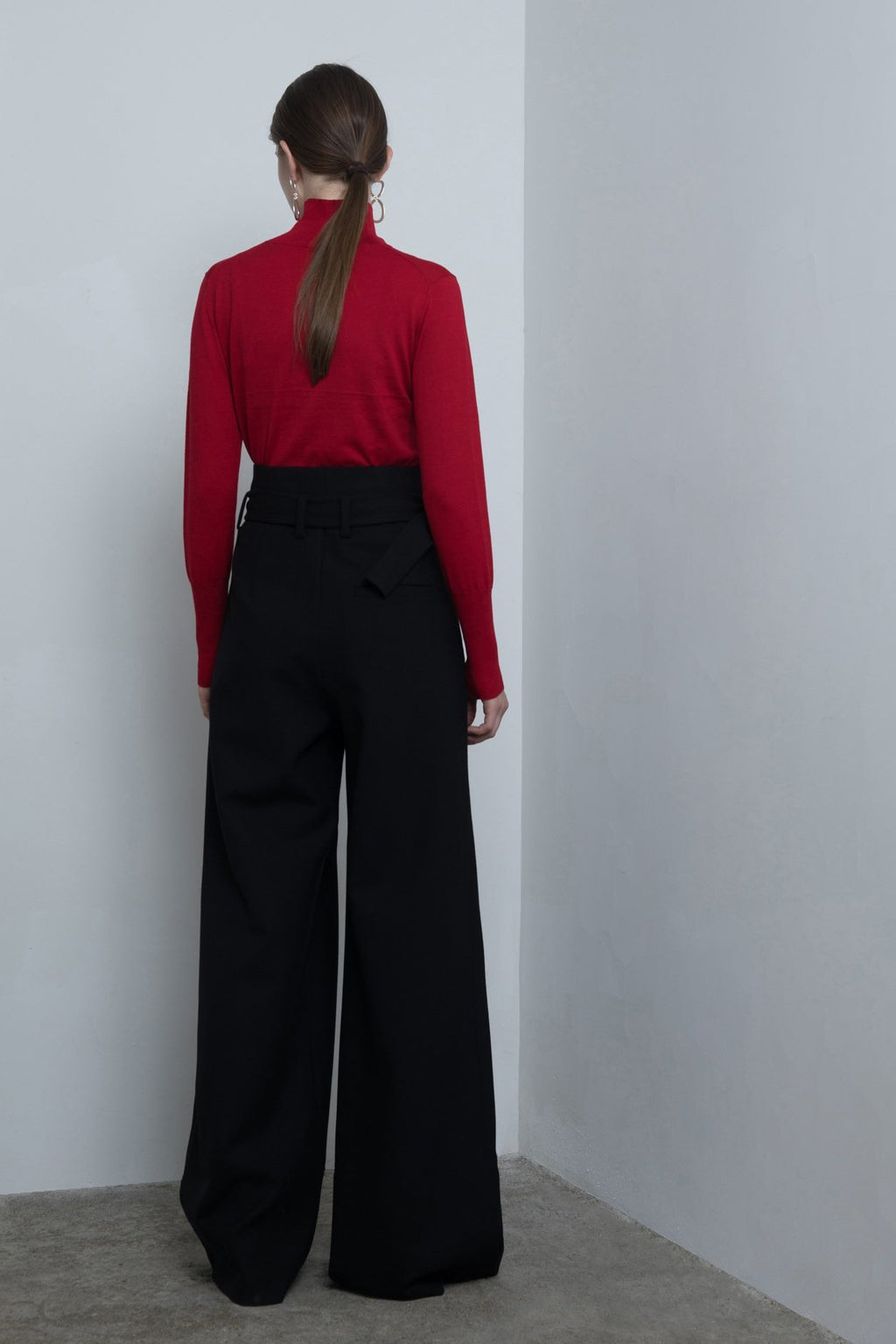 YUEL XIANG wide leg black trousers
