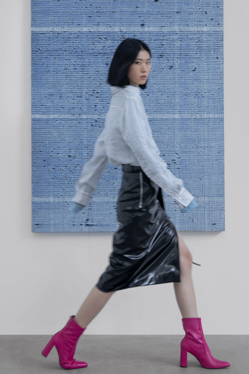 Patent Leather Buckle Skirt