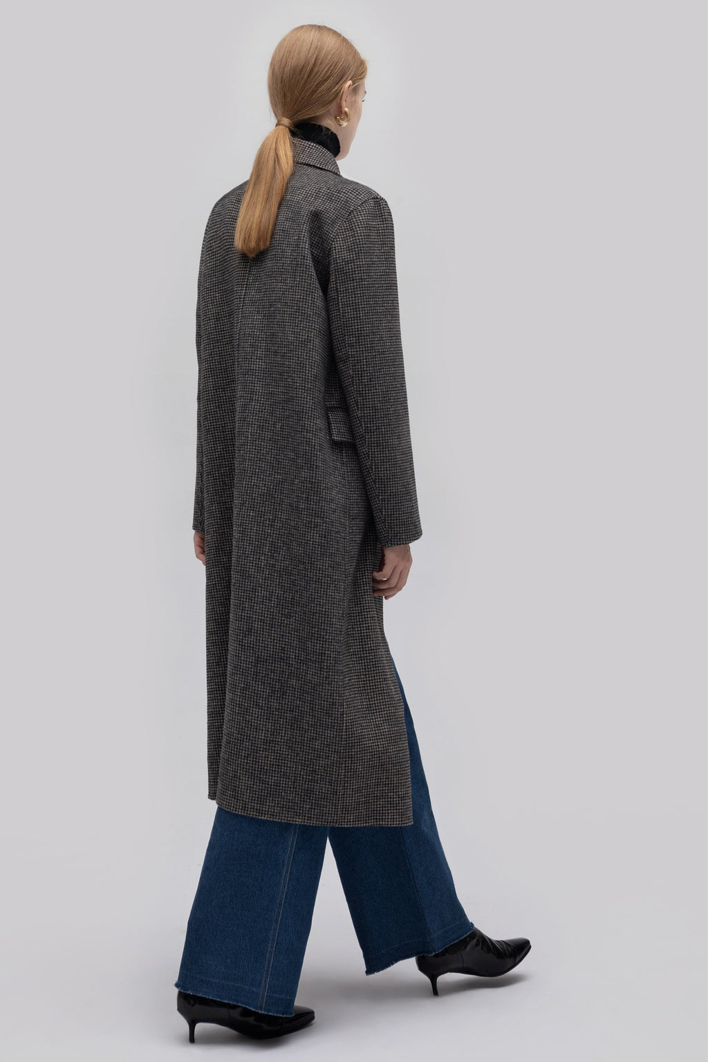 YUEL XIANG houndstooth wool coat