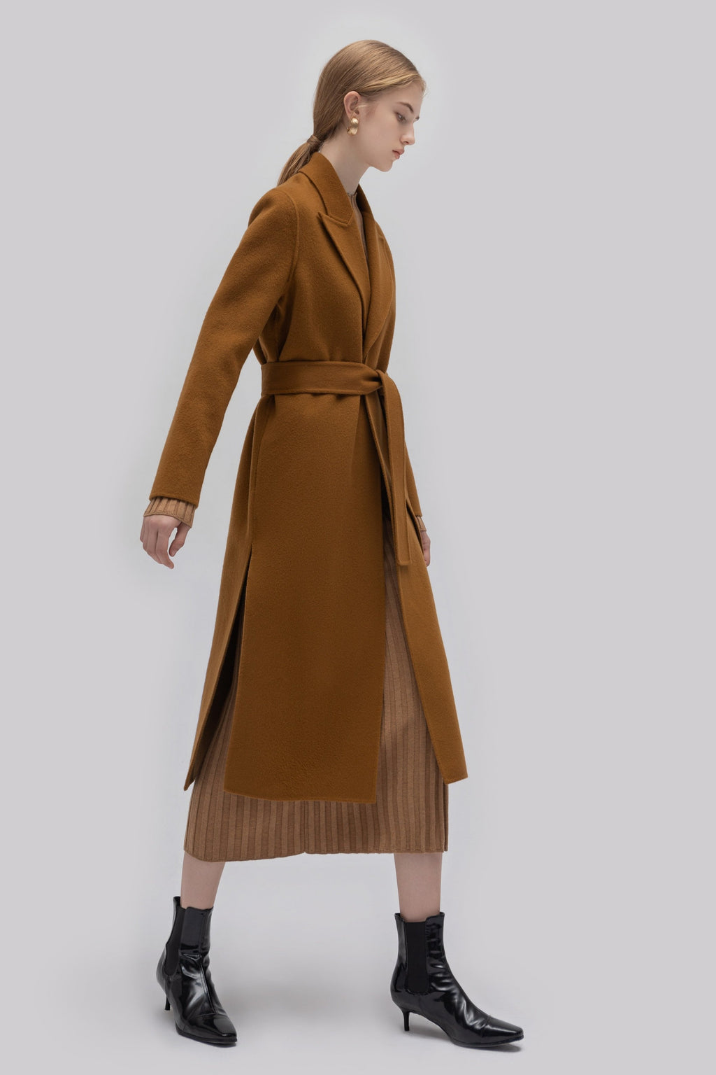 YUEL XIANG slim-fit belt coat