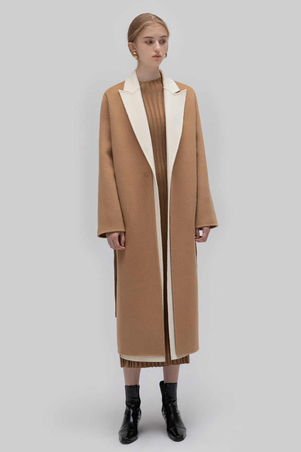 YUEL XIANG stitching wool collar coat