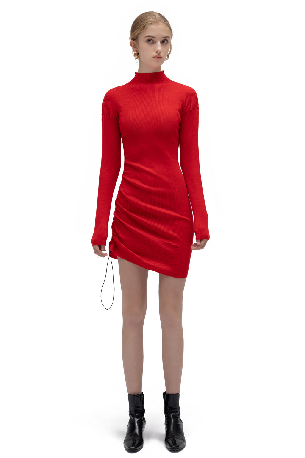 High-Neck Drawstring Knit Dress