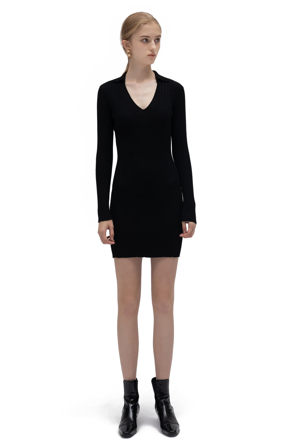 YUEL XIANG deep V knit dress