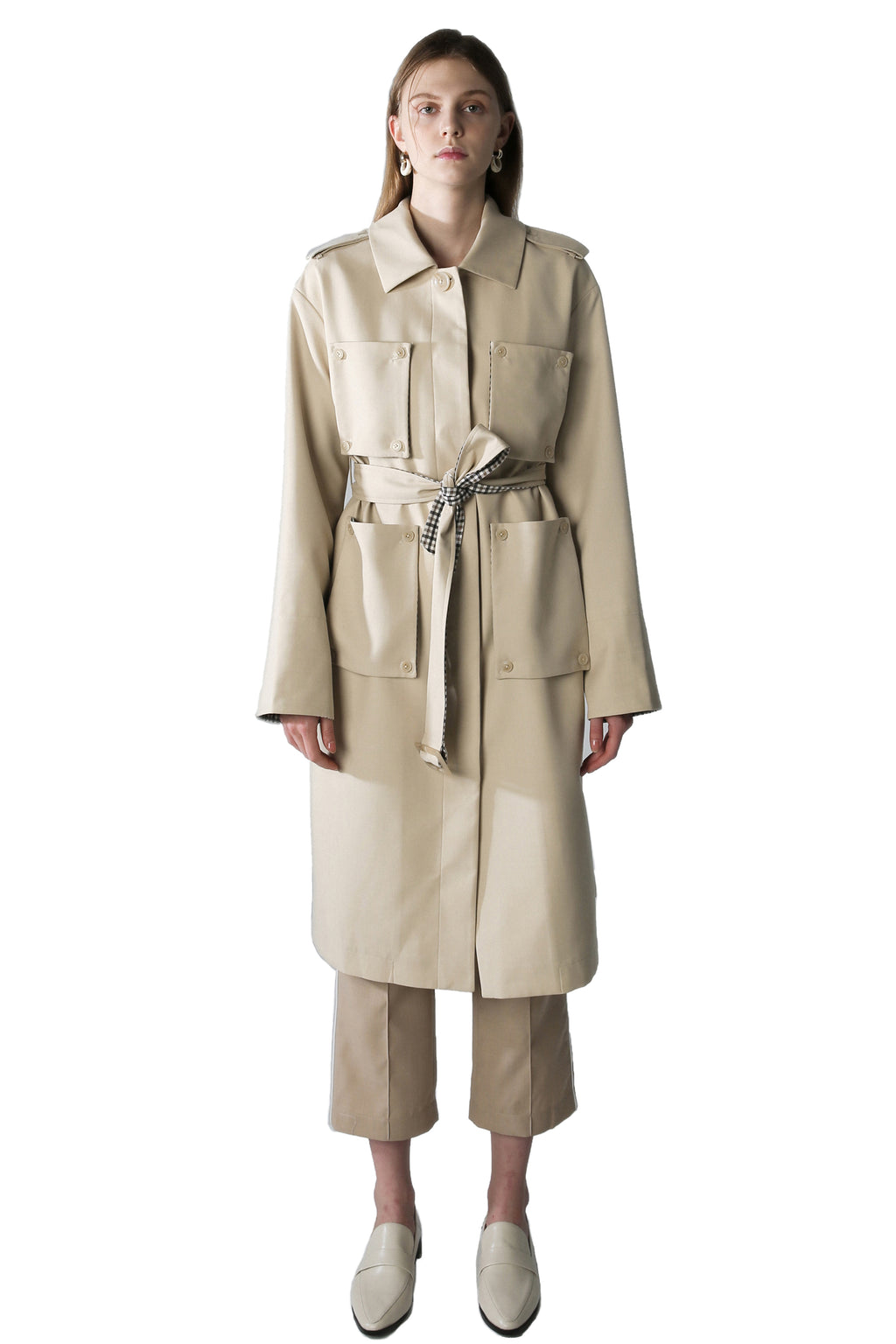 Detachable Pockets Trench Coat