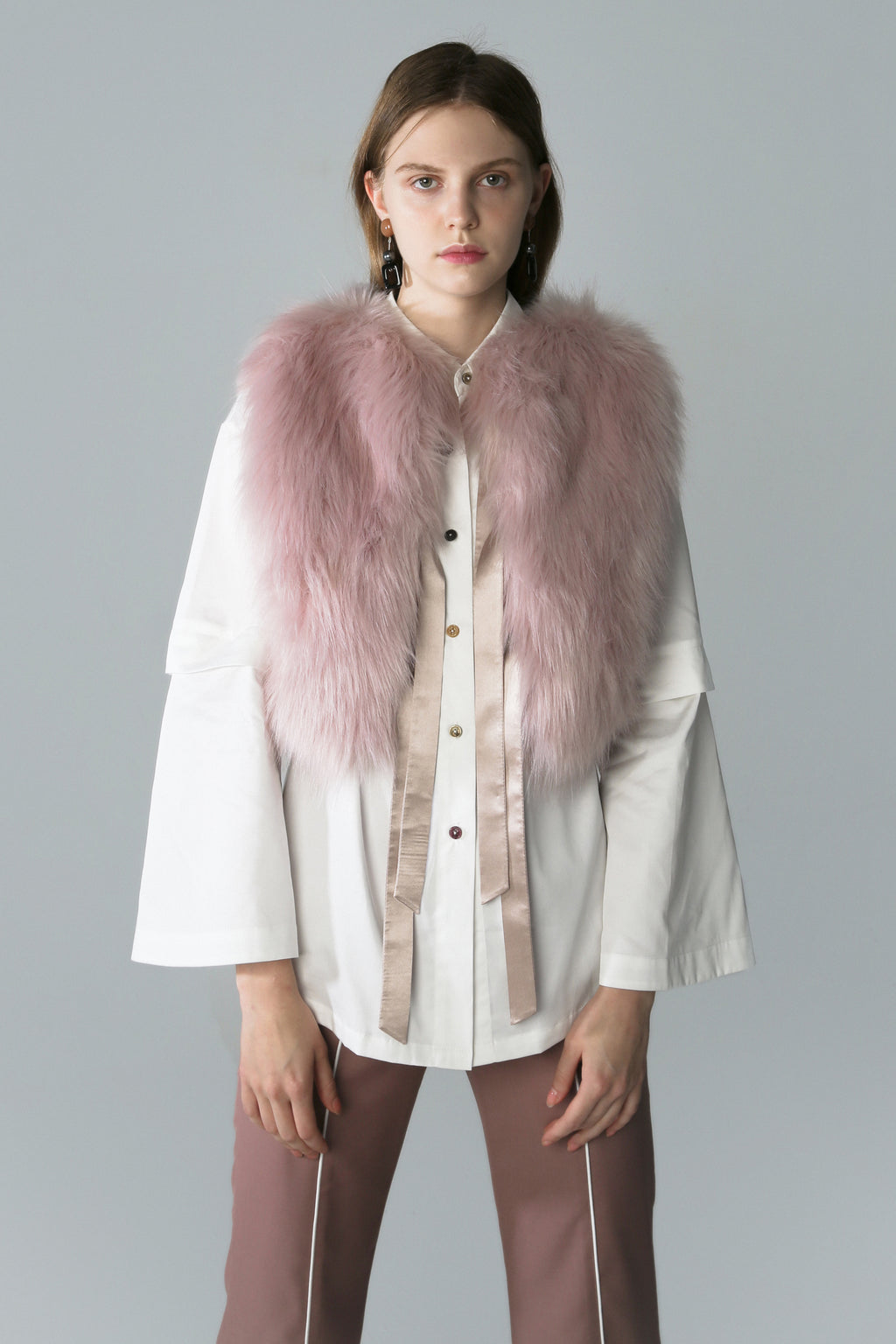 Man-Made Fur Sleeveless Jacket