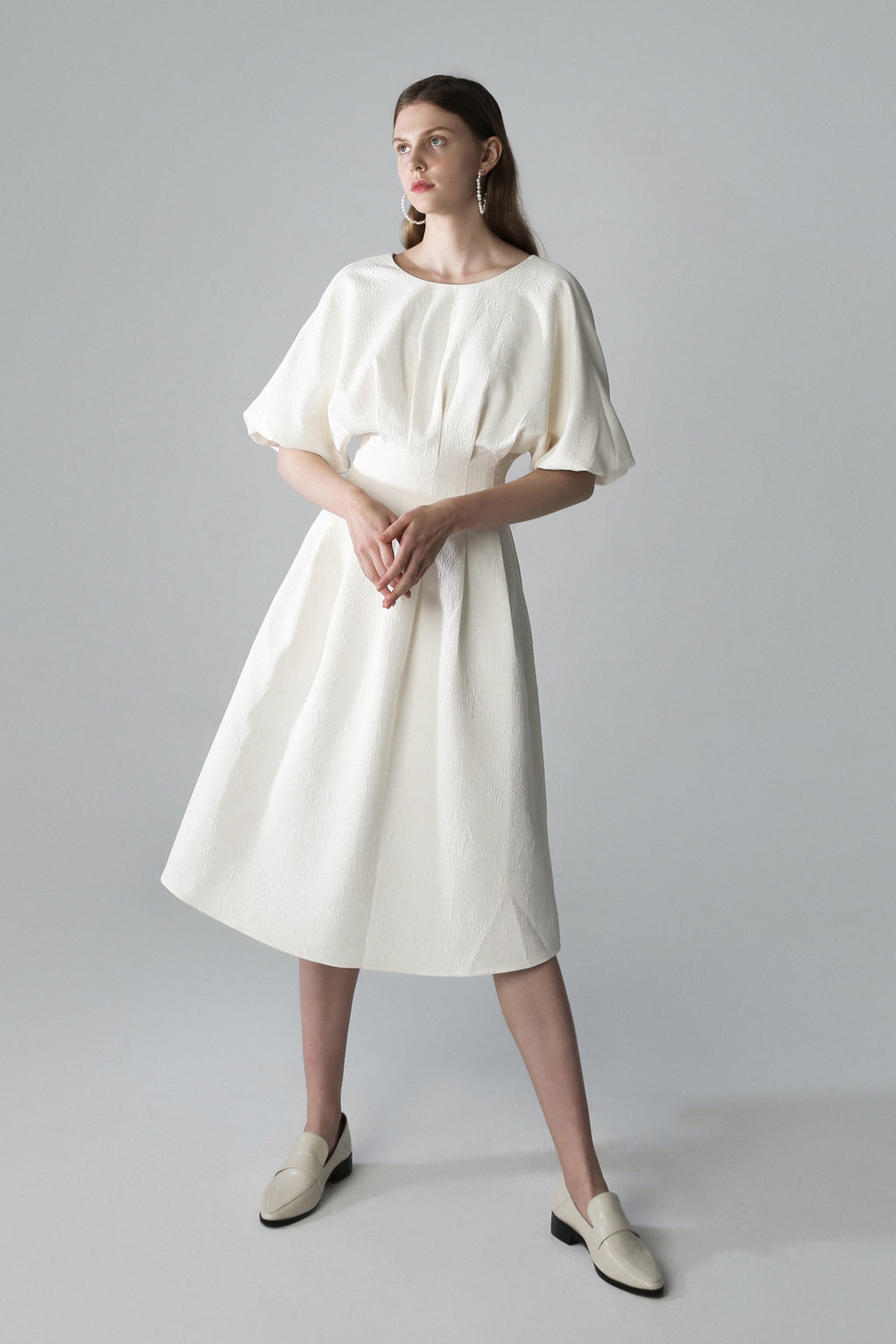 Off-Shoulder Puff Sleeves Dress