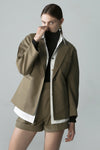 Green Blazer Collar Army Jackt