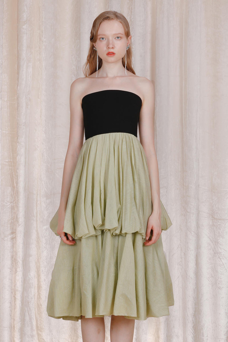 Green Silk Tube Top Bubble Dress