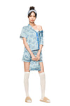Light-Blue  Short-Sleeve Pajamas Set