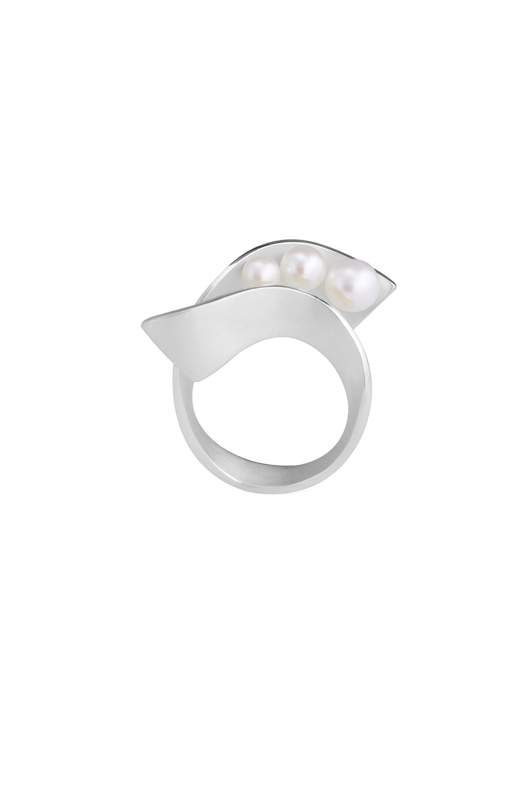 Silver Pearl Spiral Ring