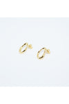Gold Flow Long Grip Circle Earrings