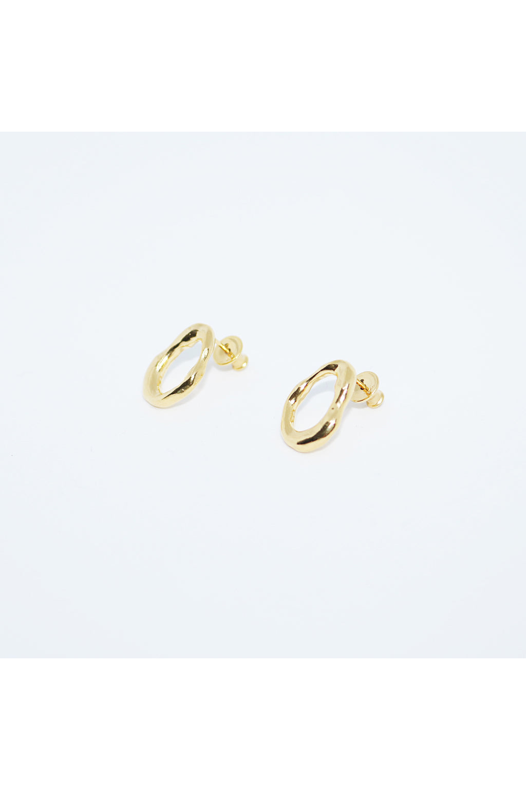 PICOMENT gold flow long grip circle earrings