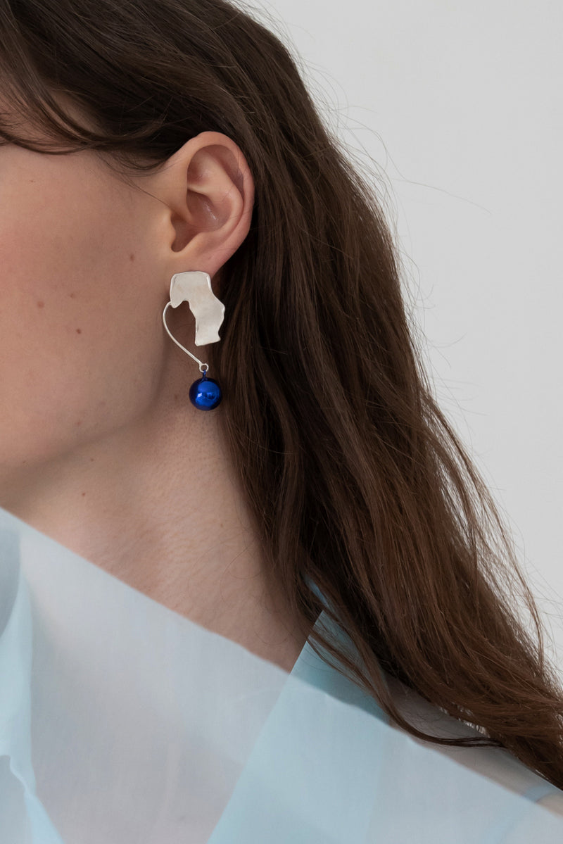 Flat Blue Ball Earrings