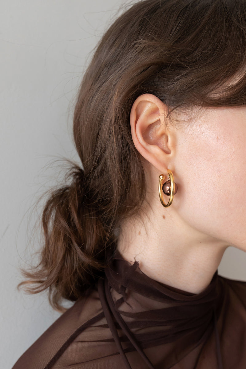 Asymmetric Ball Ring Earrings
