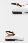 Amber White Calf Leather Gold Buckle Flat Sandals