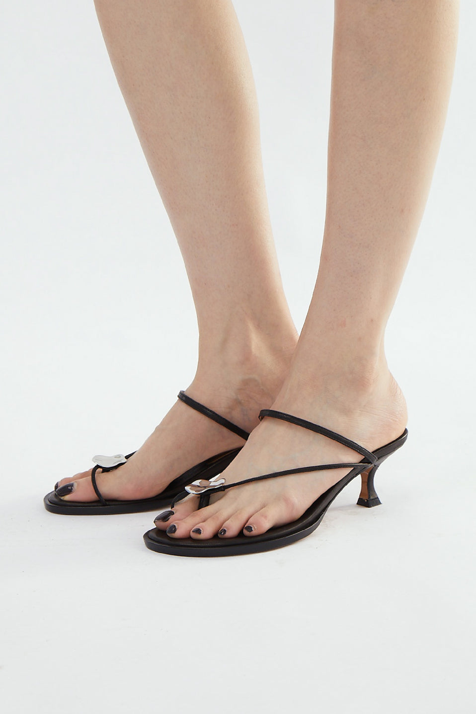 Cora Metallic Decorative Sandals - Black