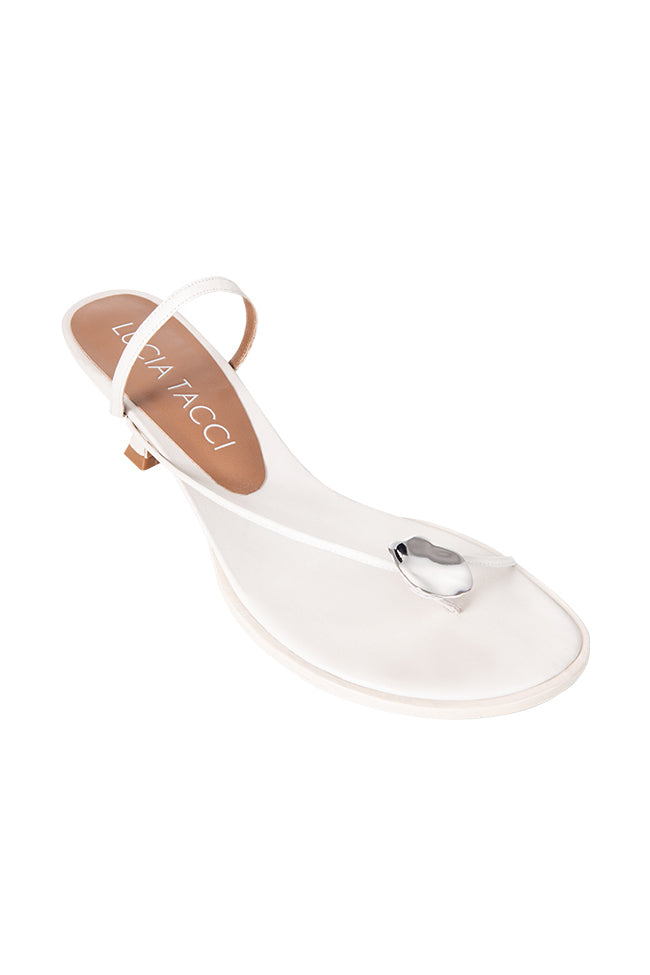 Cora Metallic Decorative Sandals - White
