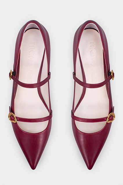 Dora Cherry Red Calf Leather Pumps