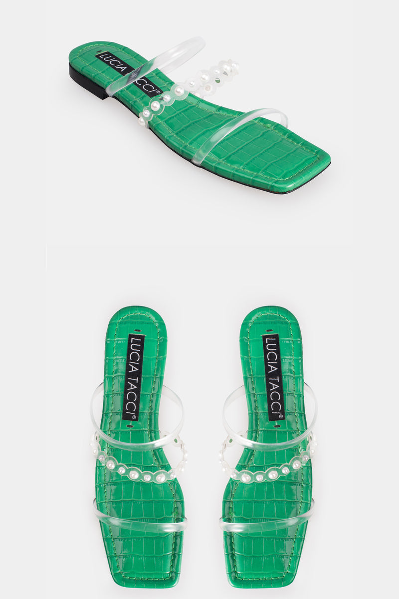 Freja Pearl Strap Sandals - Green