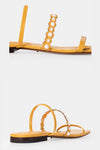 Freja Pearl Strap Sandals - Yellow