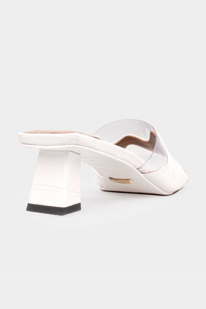 Jill Wavy Square Toe Sandals - White